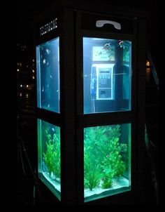 why not fill unused telephone booths with exotic fish?  If I did this my phone booth would be Pink.