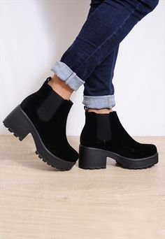 Black+Suede+Elasticated+Pull+On+Cleated+Platforms+Ankle+