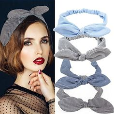 Jaciya 4 Pack Elastic Headbands Rabbit Ear Classic Grid Stripe Headband Hair Band for Women Girls Turban Headwraps Bows -- You can get more details by clicking on the image. (This is an affiliate link) #PersonalCareProducts