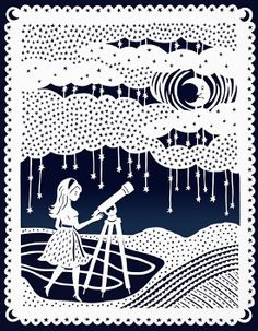 Original Papercut Illustration - Stargazing Night Sky - Girl and Telescope- 8x10 Print via SarahTrumbauer on Etsy.