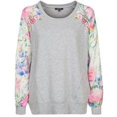 Süßer grauer Pullover von Morgan. Ab 48,95 € ♥ Hier kaufen: http://stylefru.it/s52735 #springtime #flowerpattern