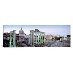 iCanvasArt Panoramic Ruins of an Old Building, Rome, Italy Photographic Print on Canvas in Multi-color