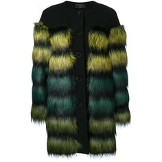 Ki6 dropped faux fur coat (2.110 RON) ❤ liked on Polyvore featuring outerwear, coats, coats & jackets, black, imitation fur coats, faux fur coat and fake fur coat
