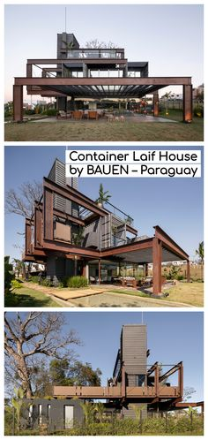 This question starts the search, what if we build a house that can be moved from one place to another, with recyclable materials and low carbon footprint? A SUSTAINABLE house. Container Home Designs, Storage Container Homes, Container Architecture, Container Buildings, Casa Loft, Steel Frame House, Shipping Container House Plans, A Frame Cabin, Modern Architecture