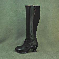 John Fluevog Deb Black Purple Piping Stretch Back Knee-High Boots Shoes sz 5.5 M