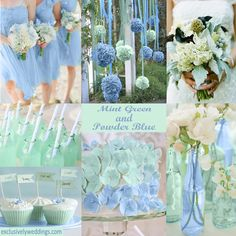 Soft hues ... Mint with Powder Blue wedding colors.   #exclusivelyweddings   All of our color stories can be found here: http://pinterest.com/exclusivelywed/wedding-color-stories/