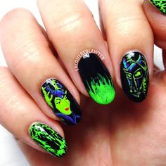 Mistress of All Evil. Shaded Not Jaded by is perfect for a Maleficent mani. Disney Nail Designs, Nail Art Designs, Us Nails, Love Nails, Maleficent Nails, Crazy Nail Art, Nail Art Blog, Best Brushes, Nails Only