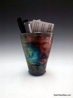 Magnetic Pocket Vase -  Raku Pottery - Ryan Peters by clayguyry on Etsy
