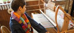 Holly Berry textile designer at her loom