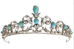 Antique Necklace Tiara, United Kingdom (ca. 1875; cabochon turquoises, diamonds, silver, gold).