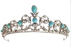 Antique Tiara, United Kingdom (1875; turquoises, diamonds, silver, gold).
