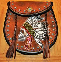 Eddie Brat Leather hip bag purse.  One-of-a-kind, hand made in Nova Scotia.