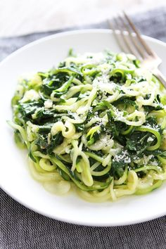 5-Ingredient Spinach Parmesan Zucchini Noodles Recipe on twopeasandtheirpod.com You only need 5 ingredients and 20 minutes to make this easy and healthy dish! Try it for dinner tonight!