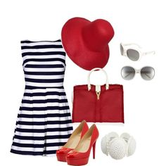 """Red, White & Navy"" created by #bonnaroosky, #polyvore #fashion #style Christian Louboutin Yves Saint Laurent Tarina Tarantino #Prada platform heels #red #stripes #heels #dress #summer red heels straw hat yves saint lauren #white navy blue"