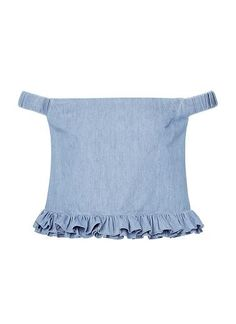 100% Cotton Denim Ruched Bodice. Neat fitting cropped bodice features elasticised off shoulder straps with frill hem in an all over denim fabrication. Available in Denim as shown.