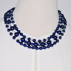 Blue glass pearls with crystal ascent necklace