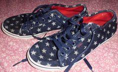 Rare VANS Navy Blue w/White Stars Canvas Sneakers Shoes Sz 11 Women's #Vans #SkateShoes
