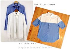 DIY : une chemise bicolore - http://www.petitcitron.com/blog/2014/07/diy-une-chemise-bicolore/