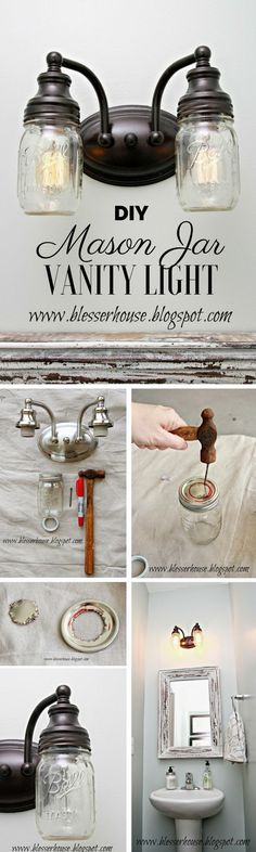 ** Wonderful Take a look at the tutorial: #DIY Mason Jar Vainness Mild Business Commonplace Design...