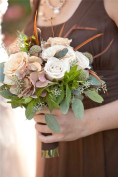 Soft Fall Colors- this would look good with the colors of brides maids dresses you were looking at