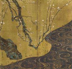 textile inspiration - japanese sumi-e gilt screen Japanese Artwork, Japanese Painting, Japanese Paper, Mono No Aware, Feuille D'or, School Painting, Japon Illustration, Art Japonais, China Painting