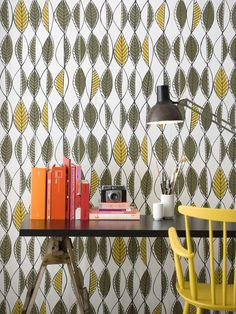 Accessories, : Delectable Modern Home Office Decoration Using Green Leaves Pattern Scandinavian Wallpaper Including Yellow Computer Chair And Folding Halogen Black Metal Desk Lamp Wallpaper Decor, Retro Wallpaper, Wallpaper Ideas, Leaves Wallpaper, Black Wallpaper, Bedroom Vintage, Vintage Walls, Retro Home Decor, Diy Home Decor