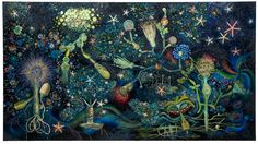 Miriam Wosk, The Grotto, 2006, Acrylic crystals, pearls, beads, sequins, glitter, starfish, coral, cactus spines, organic materials, collaged paper, and mixed media on canvas, 66 x 119 in., Courtesy of The Miriam Wosk Family Trust