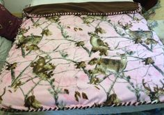 Pink, Brown, Camo, whitetail fleece blanket March 2014