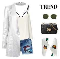 """much trends in one set 😉 choker. embroidered denim short . metallic . gucci bag black. white sneaker. peneaple. hexagonal glasses. lingerie strap. top tank."" by jasmimestefany ❤ liked on Polyvore featuring Philipp Plein, Raey, Bianca Spender, Gucci, Linda Farrow and Bling Jewelry"