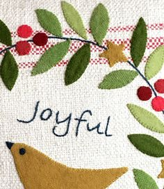 *NEW* Joyful Pillow Pattern--printed pattern – Black Mountain Needleworks Wool Applique Patterns, Applique Quilts, Embroidery Applique, Quilt Patterns, Wool Quilts, Felt Christmas Decorations, Wool Art, Simple Embroidery, Penny Rugs
