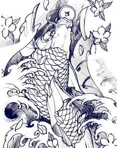 Koi sketch. #chronicink #asianink #tattoo #irezumi #koi #sketch #illustration
