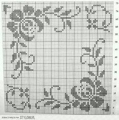 Filet Crochet Charts, Crochet Motifs, Crochet Flower Patterns, Crochet Diagram, Crochet Stitches Patterns, Weaving Patterns, Cross Stitch Patterns, Cross Stitch Boards, Just Cross Stitch