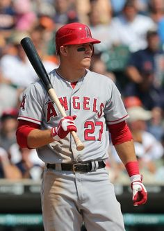 Mike Trout #27 of the Los Angeles Angels of Anaheim