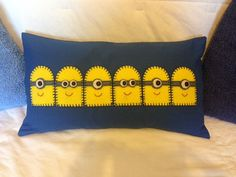Minion 'Beach Huts' Cushion  x  haha by MaryMatthewsHandmade, £20.00