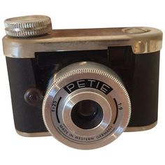 Petite Spy Camera Made in West Germany in Leather Case ($299) ❤ liked on Polyvore featuring fillers - black, camera, fillers and accessories