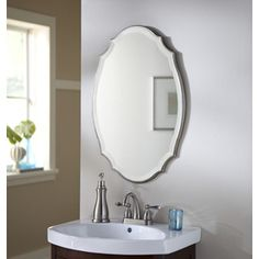 allen + roth 20-in x 30-in Silver Beveled Oval Framed French Wall Mirror