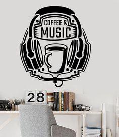 Vinyl Wall Decal Coffee Music Headphones Quote Teen Room Stickers (ig3616)