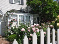 Rose Garden Design, Planning A Rose Garden nice picket fence with roses example for by sidewalk.