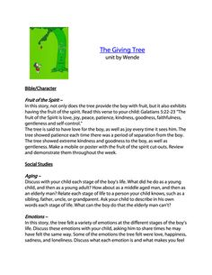 The Giving Tree Unit Study & Printables FREE