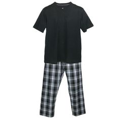 This classic pajama set is great any time of the year. The knit short sleeve crew neck shirt is a soft cotton blend for easy care. The plaid woven pants feature a covered elastic waistband with drawstring to adjust for a perfect fit. The pants also feature a button fly and convenient side seam pockets.