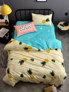 2016 New Style Fashion Style Cloud Bedding Set Queen/Full/Twin Size Bed Linen Se Dorm Bedding, Linen Bedding, Bed Linens, College Bedding, Queen Bedding Sets, Comforter Sets, Duvet Cover Sizes, Duvet Covers, Pineapple Comforter