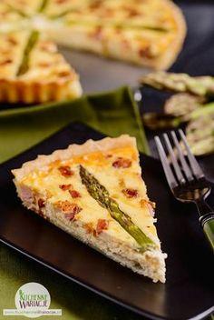 Tarta z boczkiem, szparagami i mozzarellą   Bezglutenowe Kuchenne Wariacje