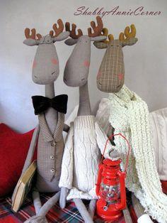 Peluche élan jouets de Noël moose Deer Noël par ShabbyAnnieCorner