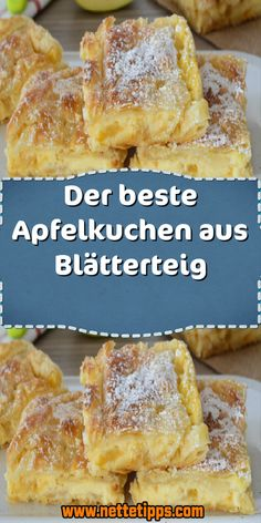 Ingredients 2 pack puff pastry 4 apples 100 ml apple juice 6 tablespoons sugar 1 tsp cinnamon 125 … Apple Cake Recipes, Easy Cookie Recipes, Austrian Recipes, Sweet And Spicy, Bread Baking, No Bake Cake, Easy Meals, Food Porn, Food And Drink