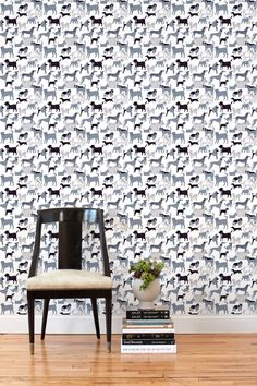 Our removable wallpaper tiles can be reused and are easy to remove - ideal for renters and temporary installations. This Dog Park (Gray) pattern is designed by Julia Rothman and perfect for dog lovers - all proceeds go to animal rescue charities. Tile Wallpaper, Wallpaper Size, Wallpaper Online, Pattern Wallpaper, Best Removable Wallpaper, Temporary Wallpaper, Unique Wallpaper, Grey Tiles, Inspiration Wall