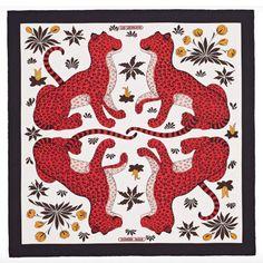 Black and multicolor Hermès silk scarf with 'Les Léopards' motif and hand rolled edges. Hermes Home, Bandana Design, Red Leopard, Scarf Design, Leopards, Pattern Wallpaper, Textile Design, Pattern Design, Print Patterns