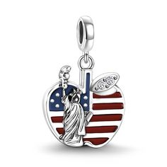 Big Apple Charm 925 Sterling Silver