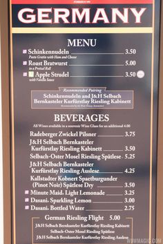 2015 Epcot Food and Wine Festival Marketplace kiosk - 53 Germany menu