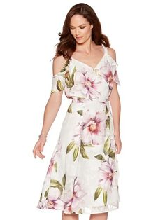 0c8b4de37ff Floral print cold shoulder wrap dress Summer Formal Dresses