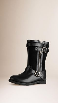 Belted Buckle Detail Leather Boots   Burberry